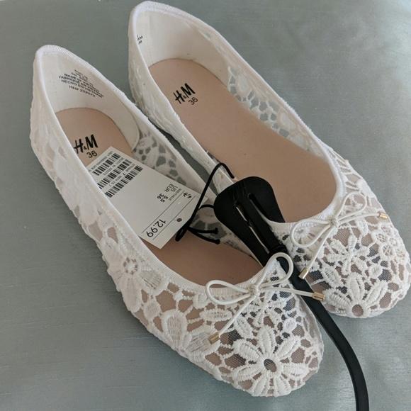 H\u0026M Shoes | H M White Lace Ballet Flats
